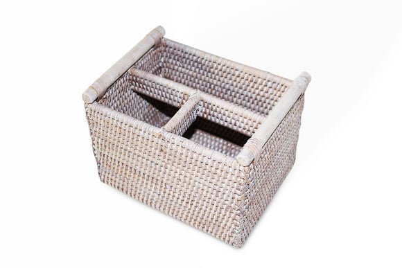 Remote Control Basket - White Wash - Blue Rooster Trading