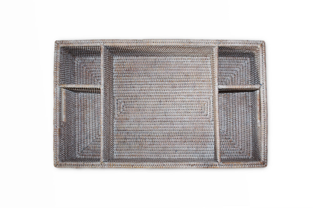 5-Section Tray with Cutout Handles - White Wash