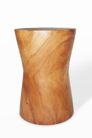"Monkey Pod  Round Angle  Stool Natural Finish 15x15x21.5""H.. - Blue Rooster Trading"
