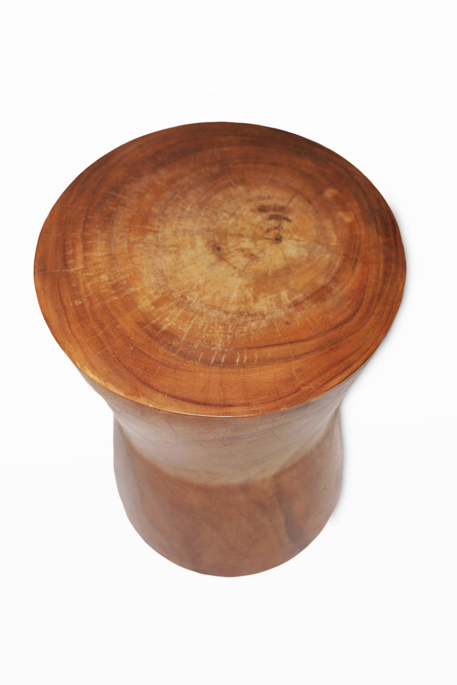 Monkey Pod  Round Angle  Stool Natural Finish 15x15x21.5