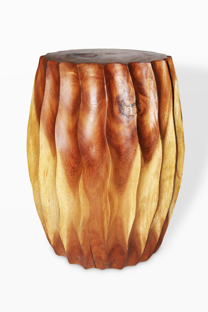 "Monkey Pod  Fluted Stool Natural Finish 12 x 18"" H.."