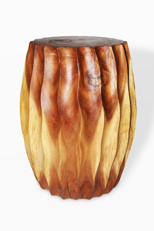 "Monkey Pod  Fluted Stool Natural Finish 12 x 18"" H.. - Blue Rooster Trading"