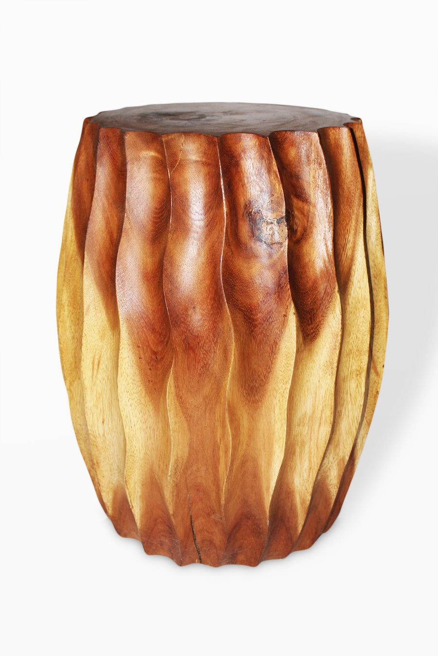 Monkey Pod  Fluted Stool Natural Finish 12 x 18