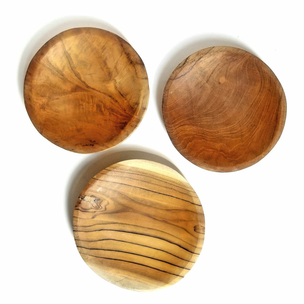 Set 3 Round Acacia Wooden Plate