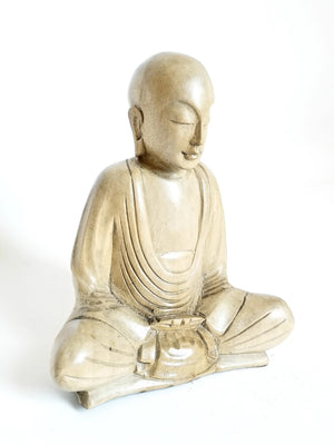 Dhyana Mudra Sitting Monk Wood Statue