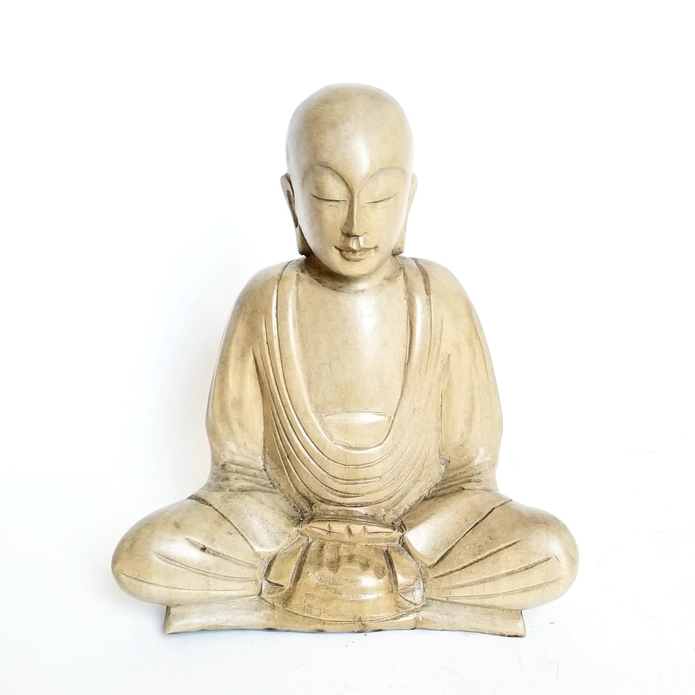 Load image into Gallery viewer, Dhyana Mudra Sitting Monk Wood Statue
