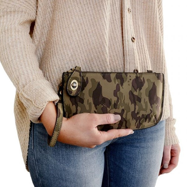 Camo Olive Vegan Leather Mini Clutch