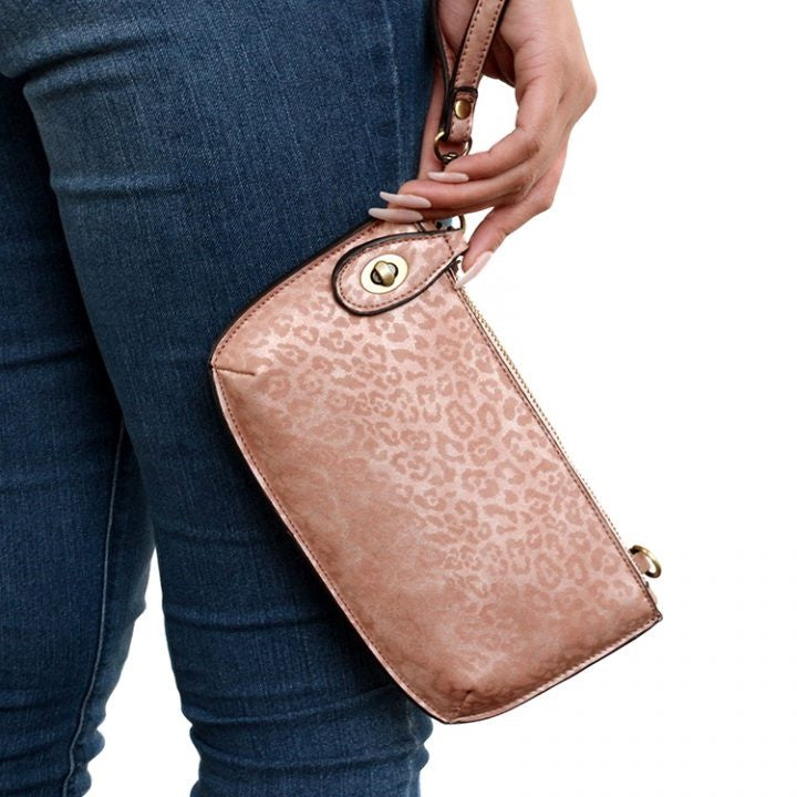Leopard Pink Tonal Vegan Leather Mini Clutch