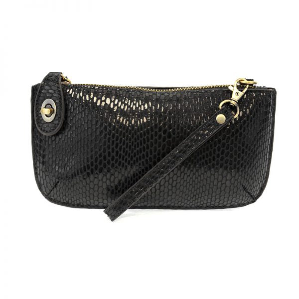 Python Black Vegan Leather Mini Clutch