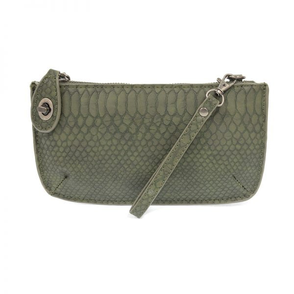 Python Chive Vegan Leather Mini Clutch