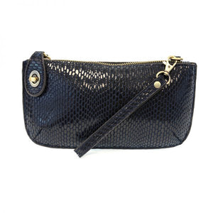 Python Navy Vegan Leather Mini Clutch