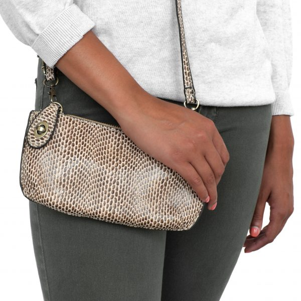 Load image into Gallery viewer, Python Natural Vegan Leather Mini Clutch