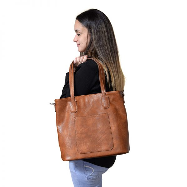 Terri Camel Vegan Leather Traveler Handbag