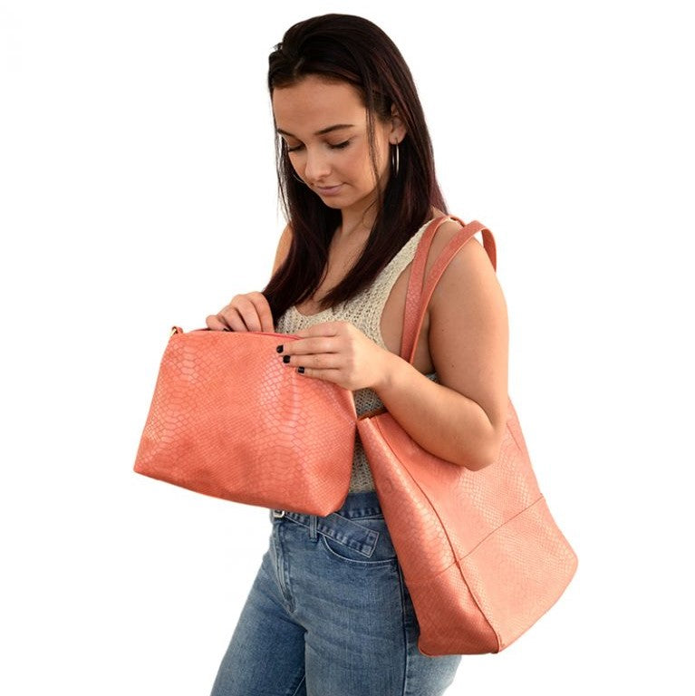 Avery Coral Python Vegan Leather Tote Handbag