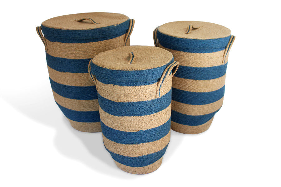 Round Hamper with Tapered Bottom Set of 3 - Blue/Natural Jute