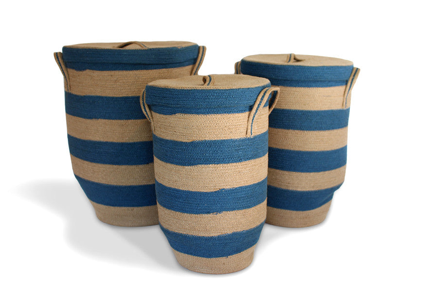 Round Hamper with Tapered Bottom Set of 3 - Blue/Natural Jute - Blue Rooster Trading