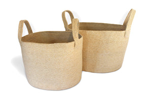 JUT003-N: Oval Laundry Tote Basket (set of 2) with Loop Handles - Blue Rooster Trading