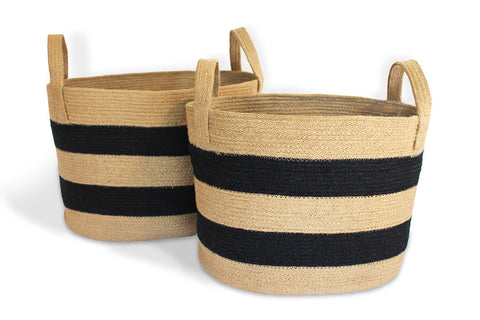 JUT005-NBLK: Oval Nesting Tote Baskets with loop Handle (Set of 2) - Blue Rooster Trading