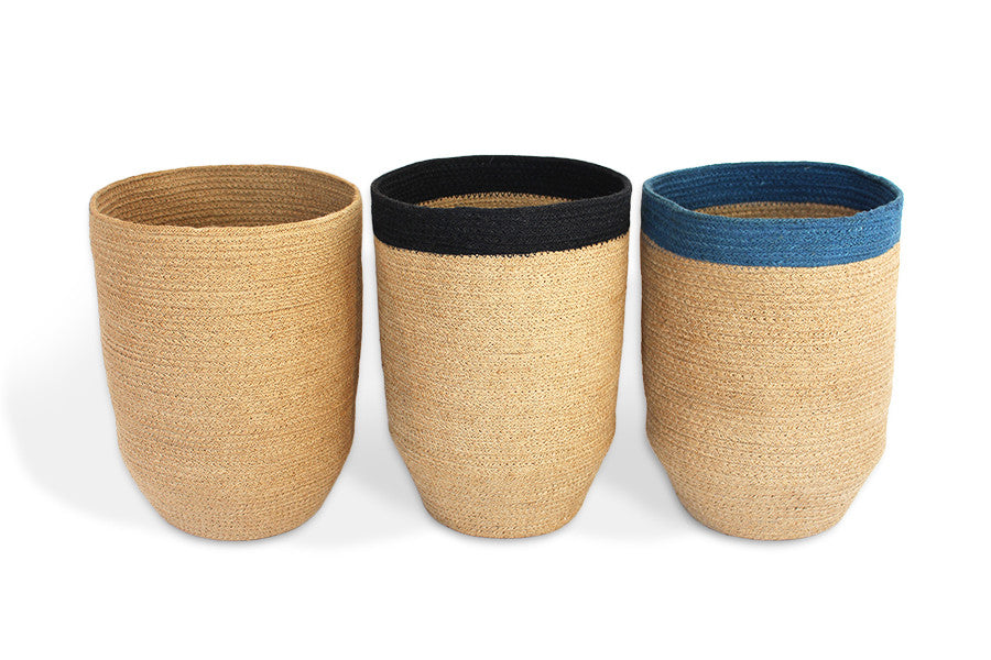 "Trash Bin w/ Tapered Bottom 10x14"" - Natural Jute - Blue Rooster Trading"