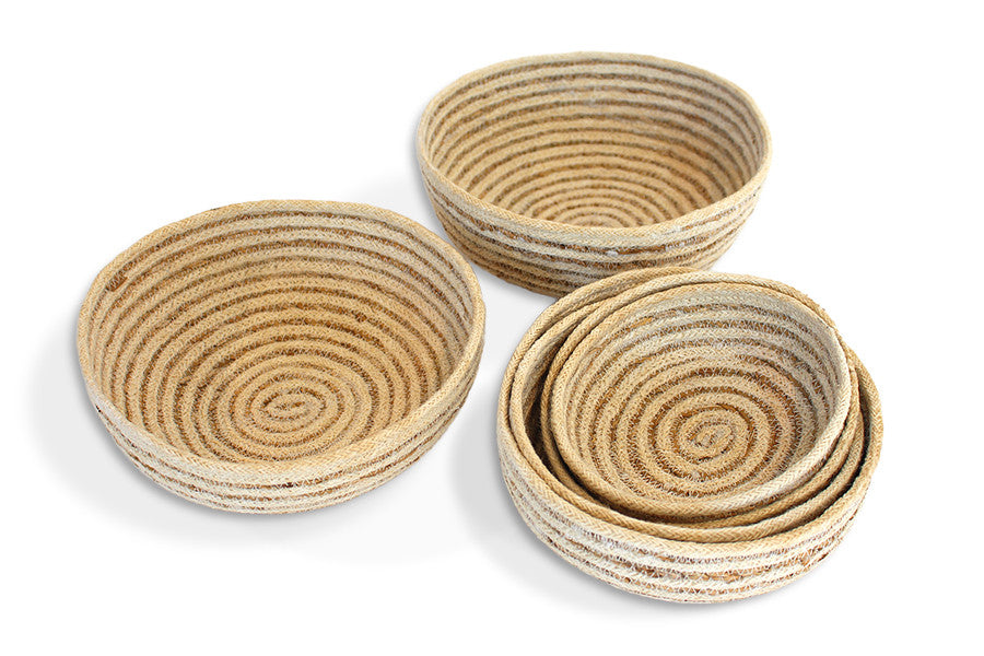 Jute Bowl rounded bottom (set of 6) Material: Bleached White Jute with Hogla/Typha(Mini Stripe) - Blue Rooster Trading