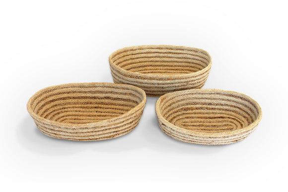 Jute oval Tray (set of 3) Bleached White  Jute with Hogla/Typha(Mini Stripe) - Blue Rooster Trading