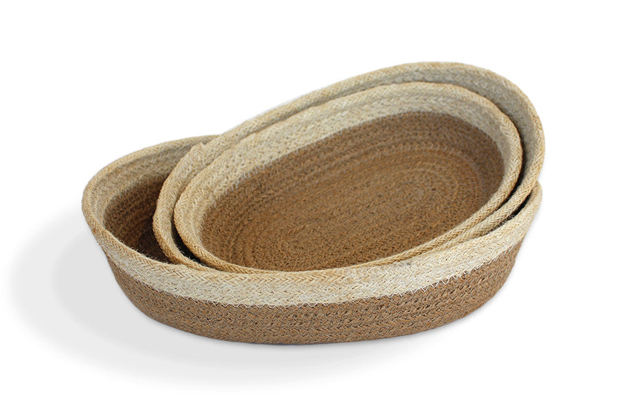 Jute Oval Tray Set of 3 - Natural/Bleached White