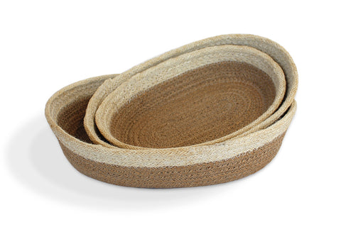 Jute  oval Tray(set of 3) Material: Natural Jute with Bleached White Border - Blue Rooster Trading