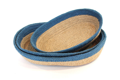 Jute  oval Tray(set of 3) Material: Natural cream Jute with light blue border - Blue Rooster Trading