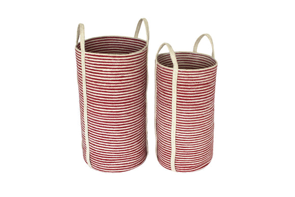 Jute Tall Round Laundry Baskets w/ Long Handles Set of 2 - Red/Bleach White Mini Stripe