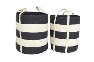 Jute Round Laundry Baskets w/ Long Handles Set of Two - Dark Grey/Bleach White Wide Stripe - Blue Rooster Trading
