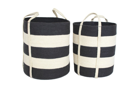 Copy of JUT016-BWDG: S/2 Jute Round Laundry Basket Long Handle - Dark Grey/Bleach White Wide Stripe