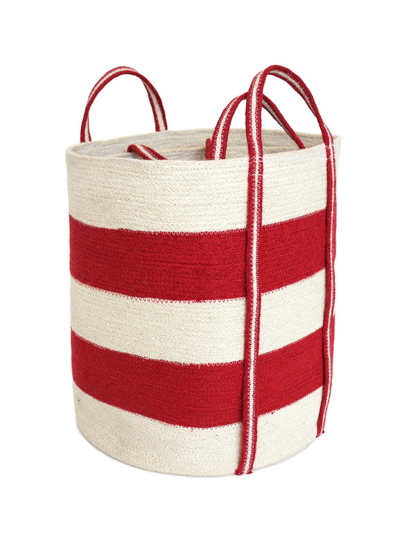 JUT016-BWR: S/2 Jute Round Laundry Basket Long Handle - Red/Bleach White Wide Stripe