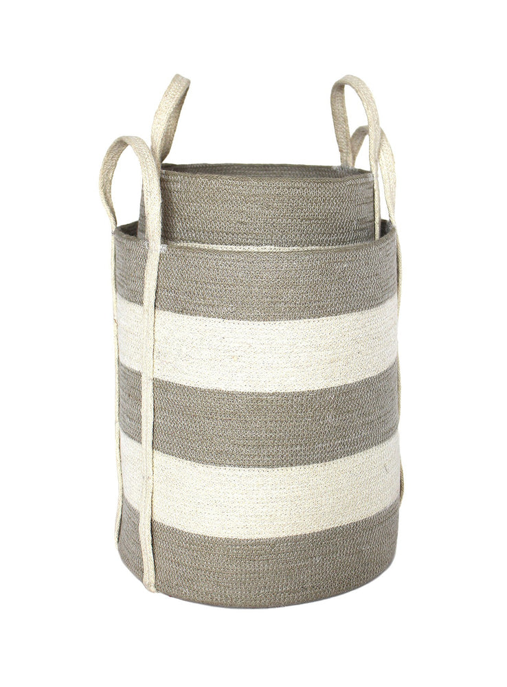 Jute Round Laundry Baskets w/ Long Handles Set of 2 - Silver Grey/Bleach White Wide Stripe