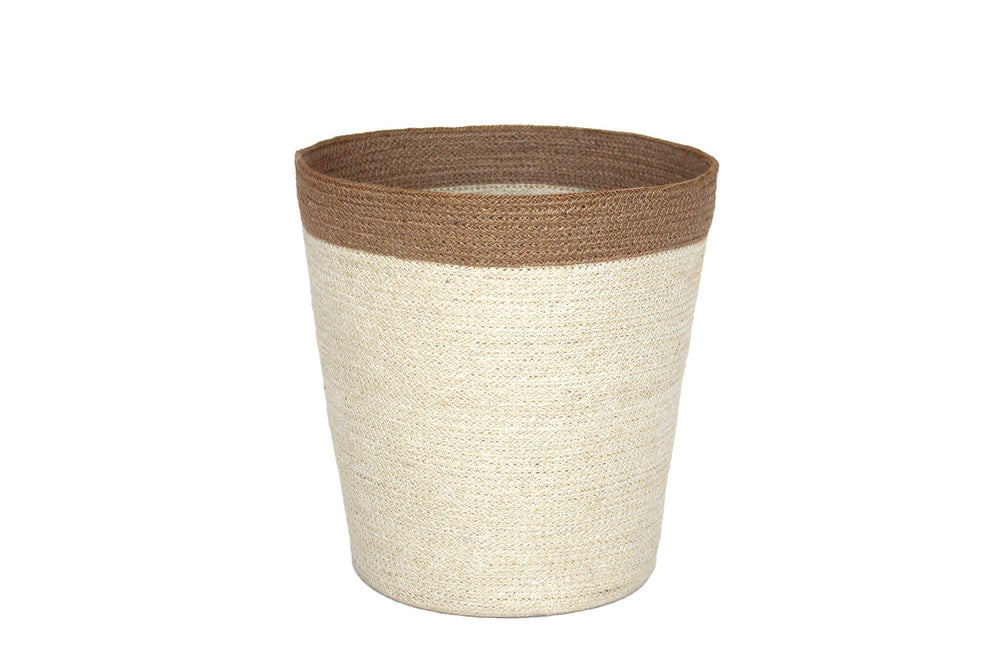 Jute Round Conical Basket - Bleach White Body/Natural Border - Blue Rooster Trading