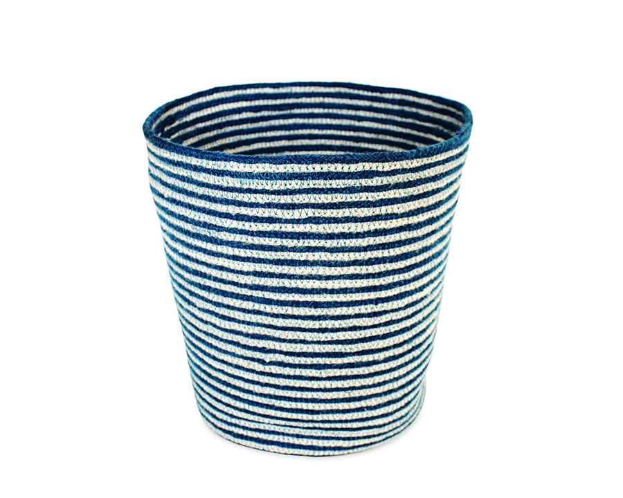 Jute Round Conical Basket - Indigo Blue/Bleach White Mini Stripe - Blue Rooster Trading