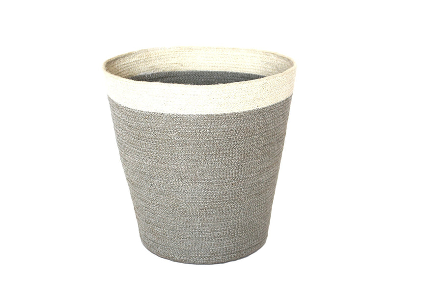Jute Round Conical Basket - Silver Grey/Bleach White Border - Blue Rooster Trading