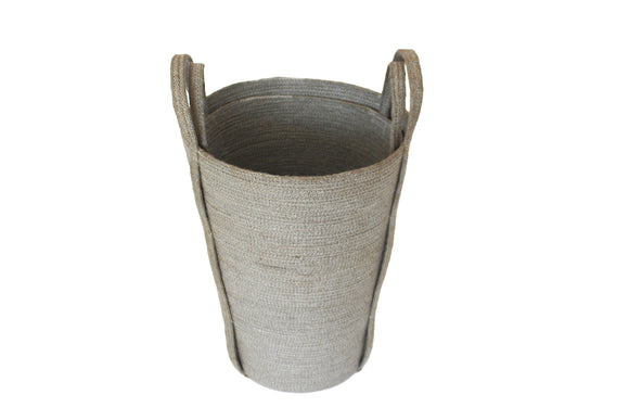 Set of Two Jute Round Conical Baskets - Silver Grey - Blue Rooster Trading