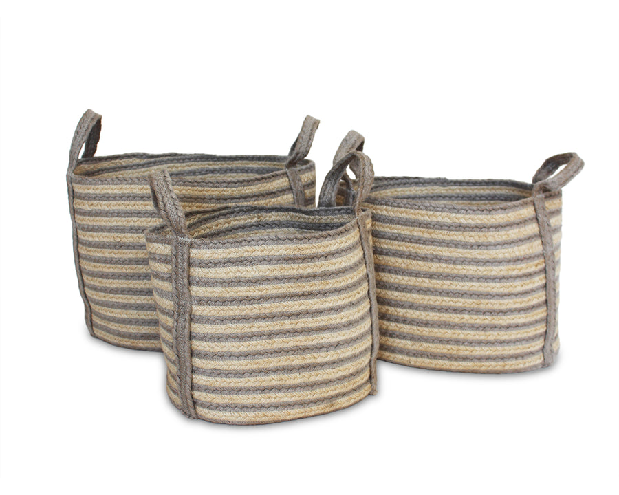 Set of Three Jute Oval Baskets - Silver Grey - Blue Rooster Trading