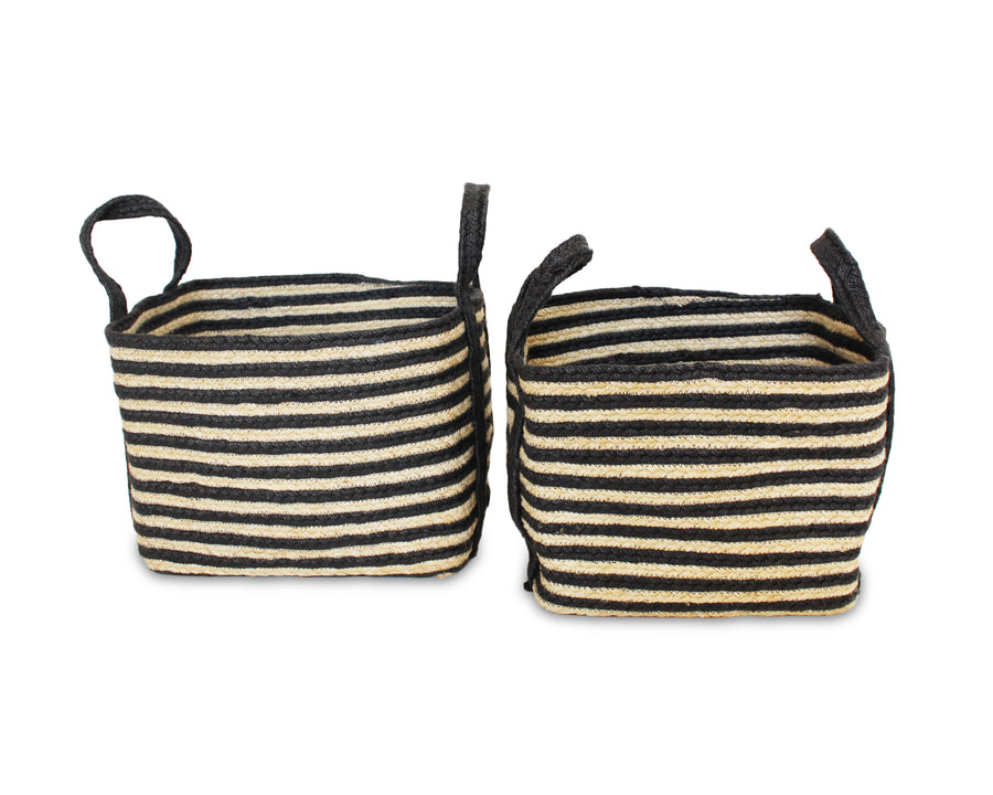 Set of Two Jute Rectangular Baskets - Dark Grey - Blue Rooster Trading