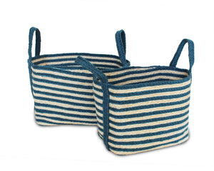 Load image into Gallery viewer, Set of Two Jute Rectangular Baskets - Indigo Blue - Blue Rooster Trading