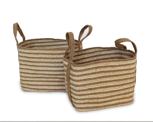 Set of Two Jute Rectangular Baskets - Natural - Blue Rooster Trading