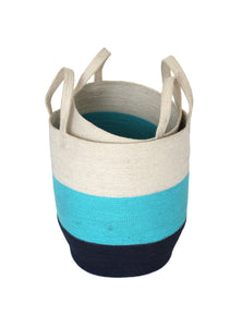 Set of Two Jute Round Baskets - Navy Blue/Pastel/Bleach White