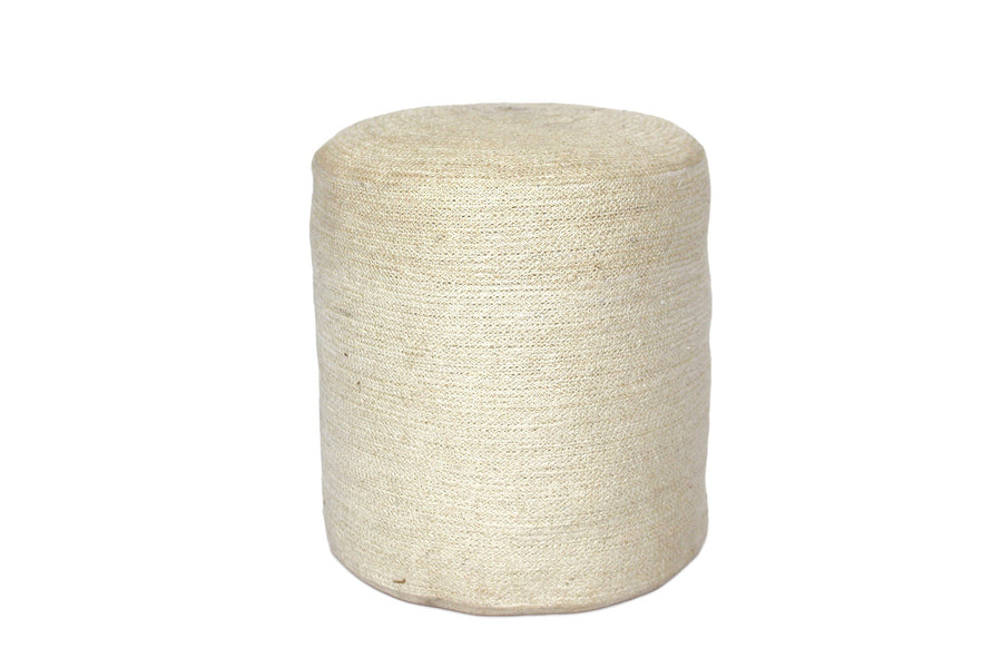 Jute Round Pouf - Bleached White - Blue Rooster Trading