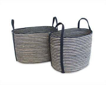 Set of Two Oval Tote Baskets - Navy Blue - Blue Rooster Trading