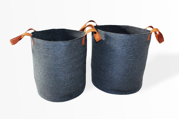 Set of Two Jute Round Laundry Baskets w/ Brown Leather Handles - Dark Grey