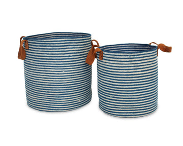 Set of Two Jute Round Laundry Baskets w/ Brown Leather Handles - Indigo Blue - Blue Rooster Trading