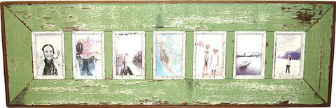 LLI111: 7-pic Frame Pale Green Rustic - Blue Rooster Trading