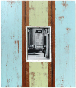 LLI304: Frame Rustic Green Blue Wide Panel - Blue Rooster Trading
