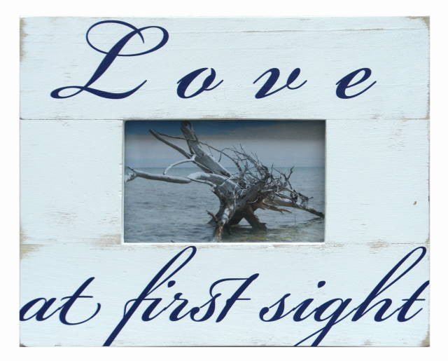 "Load image into Gallery viewer, Frame ""LOVE AT FIRST SIGHT"" 10x8"" - Rustic White - Blue Rooster Trading"