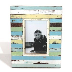 "Frame Stand Mixed Colors Stripe 8x10"" - Blue, Grey, White - Blue Rooster Trading"
